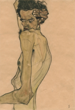 9.-Egon-Schiele-Self-Portrait-with-Arm-Twisted-above-Head-1910